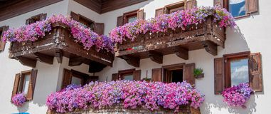 Livigno flowered. Balcony ornamental balconies Royalty Free Stock Image
