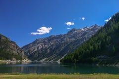 Livigno: mening van 'lago del Gallo' Royalty-vrije Stock Foto