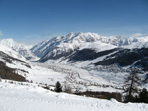 Livigno among the mountains Stock Image
