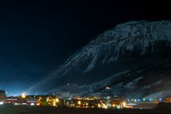 Night Livigno, beautiful town in Italy`s `little Tibet`, Lombardy, Italy stock photos