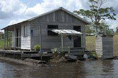 Living at the Amazon river. Floating village, Amazon river region Royalty Free Stock Photos