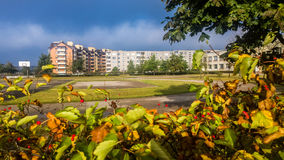 Living apartments. Fall season frame stock photo
