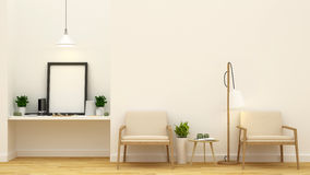Living area and art space - 3D Rendering Stock Images