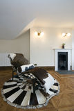 Living area with designer deck chair. Old fashion living area with designer deck chair made of cow fur and fireplace Stock Images