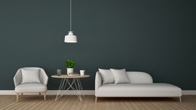 Living area in lounge or coffee shop - 3D Rendering Royalty Free Stock Photo