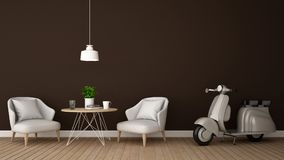 Living area and motorcycle in coffee shop or restaurant - 3D Rendering. For artwork Stock Image