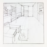 Living area, sketch Royalty Free Stock Image