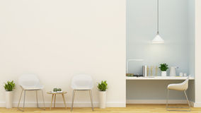 Living area and workspace pastel blue design - 3D Rendering. For background and artwork Stock Photos