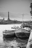 Living barge on the Seine in Paris. Stock Images