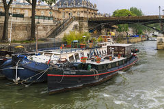 Living barge on the Seine Stock Photo
