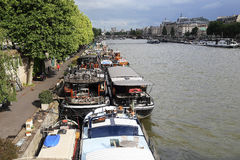 Living barge on the Seine Stock Photos