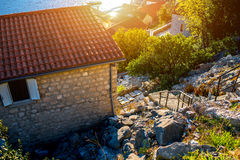 Living buildings in Perast city Royalty Free Stock Image