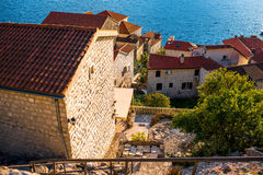 Living buildings in Perast city Stock Photo