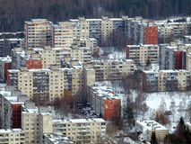 Living in the city. Vilnius city center. Winter with snow in the city Royalty Free Stock Images
