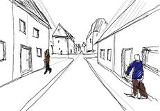 Living City. Sketch, new urbanism Scenery with building blocks and sidewalks, pedestrians, illustration in black and white with some beige and blue used for Stock Photo