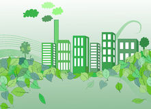 Living city, eco city. Living city thinking on ecology, fresh, clean and friendly Vector Illustration