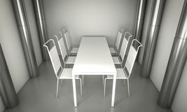 Living.Clean diner room, chairs and white table  over clean spac Stock Photos
