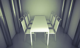 Living.Clean diner room, chairs and white table  over clean spac Royalty Free Stock Photos