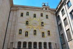 The living clock . The hours on the star shaped dial represent important characters from the past to Brussels. BRUSSELS, BELGIUM, 27 JUNE 2015:Another attraction Royalty Free Stock Photos