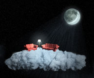 Living on a cloud stock illustration