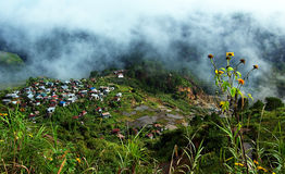 Living with the Clouds. A small settlement in Sagada Mountain Province located in the Philippines. The place is up high in the mountains so those are low-lying stock photography