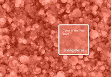 Living Coral color of the Year 2019. Bokeh background with coral in trendy color royalty free stock photo