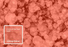 Living Coral color of the Year 2019. Bokeh background with coral in trendy color stock photography