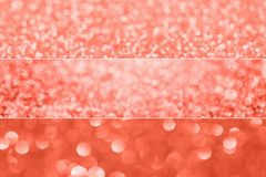 Living coral color of the year 2019 collage design: holiday sparkling backgrounds royalty free stock photo