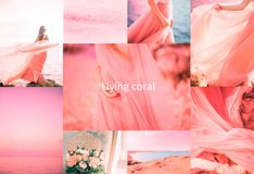 Living Coral color of the Year 2019. Gradient colors palette, collage of different photos. Clouds, woman in long dress, sea, flowers, lake royalty free stock images