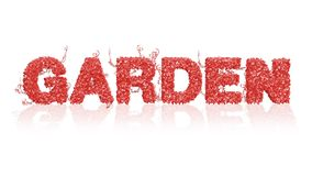 Living Coral - Color of the year - Logo Garden from ivy leaves with reflections. On a white background stock illustration