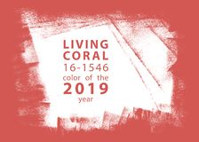 Living coral, color of the 2019 year paint stroke royalty free stock images