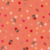 Living coral pattern with flower bud and dots. stock illustration