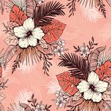 Living Coral Tropical Exotic Foliage and Hibiscus Floral Vector Seamless Pattern. Ink line Drawing Background. royalty free illustration