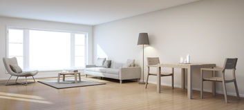 Living and dining room in modern house Stock Images