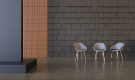 Living Display and Three chair Modern on wall Royalty Free Stock Image
