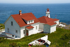 Living on the Edge. Fort Amherst Newfoundland showing Lighhouse and Keeper's Lodging with Ocean and Horizon in Background Royalty Free Stock Images