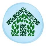 living för grönt hus för eco Arkivbilder
