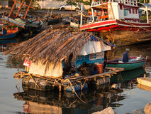 Living of fishermen. Temporary accommodation of fishermen at Ban_am_per beach.A place for prepare before go to working royalty free stock images