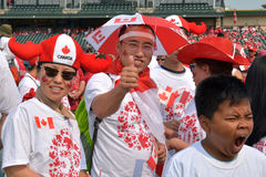 Living flag during Canada Day in Winnipeg, Canada. July 1, 2015 stock photography