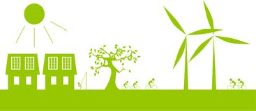 Living with green nature in a line. People live in a line with nature - solar and wind energy Stock Photos