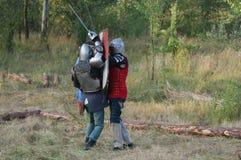 Living history.Medieval. Historical reenactment in Kiev.Living history stock photo