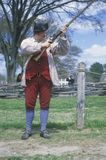 Living history participant with musket in Williamsburg, Virginia Royalty Free Stock Images