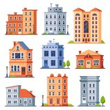Living house buildings. Cottage houses exterior, condominium apartment building and modern cottages exteriors flat stock illustration
