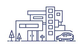 Living house built in contemporary architectural style and automobile parked beside it drawn with blue lines on white Royalty Free Stock Image