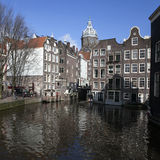 Living houses along the canal embankment in spring day. Stock Images