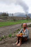 Daily living in Indonesia in the vicinity of the volcano Stock Photo