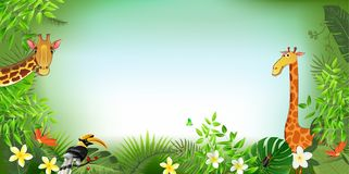 Animal vectors summer backgrounds. Living in the jungle animal and green summer backgrounds illustration vectors Royalty Free Stock Photos
