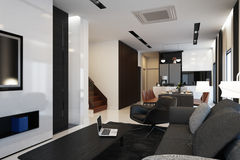 Living and kitchen area interior Stock Photos