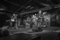 Living legend of the blues, john mayall with band, b&w Royalty Free Stock Image