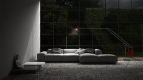 Living lounge night scene. 3d illustration Royalty Free Stock Images